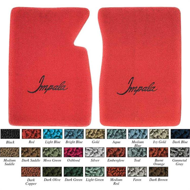 "Aqua Loop Floor Mat Set With Black ""Impala"" Script Logo"