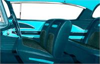 1958 Bel Air 2 Door Hardtop Turquoise Cloth With Light & Medium Turquoise Vinyl Full Set Upholstery