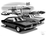 "1968-69 DODGE CHARGER ""FLASH BACK PRINT"" 11 x 17 tum  280 x 432mm"