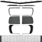 1967-68 CAMARO RS GRILL KIT WITH HEADLIGHT BEZELS WITH SILVER TRIM
