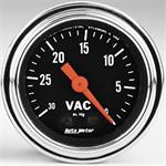 Vacum Gauge 52mm 0-30 in . Hg . Traditional Chrome Mechanical