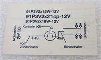 12 Volt Flasher Decal. Fits 356B, 356C