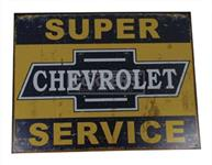 Tin Sign, Super Chevrolet Service, Weathered