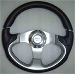Steering Wheel Leather Black / Silver 320mm